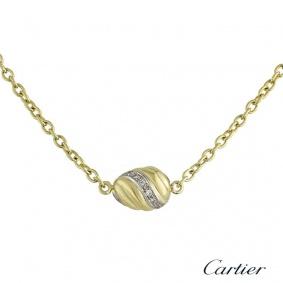 Cartier 18k Yellow Gold Diamond Set Swirl Pendant